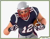 3D Model: White American Football Player HQ