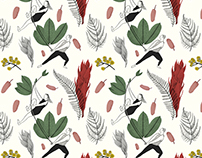 Eastern Leaves / Valentines Day Wrapping Paper