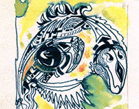 Capricorn (ink, watercolor, paper)