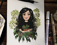 Custom portrait with succulent plants in watercolor