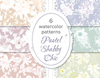 Watercolor patterns in shabby chic florals