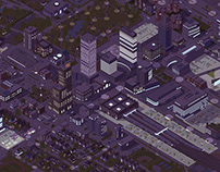 Giant isometric city: Day and night illustrations