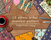 Etnic tribal seamless pattern set
