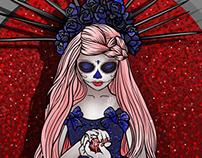 Santa muerte calavera rosa