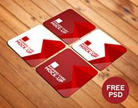 Square Business Card Mockup #FREE PSD