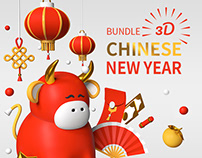 Chinese New Year - 3d icons & illustrations