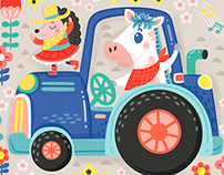 Cute Farm Animal Pattern Illustration