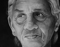 Charcoal on paper - Grandma