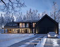MODERN BLACK WINTER HOUSE (vis. for lk-projekt.pl)