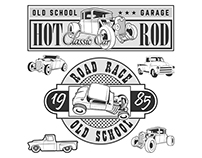Vintage race car for printing.vector old school race po