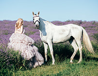 Girl and Horse in Lavender