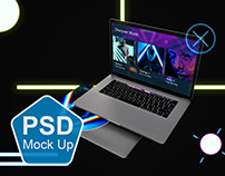 Neon Floating Macbook Pro