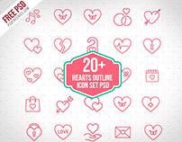 20+ Hearts Outline icon set PSD Freebie