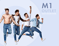 M1 OUTLET brand men's clothes store.