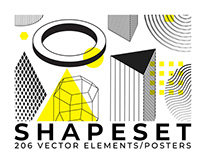 206 vector shapes/posters set