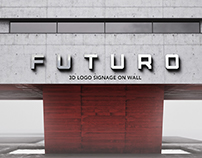 3D Logo Signage Wall Mock-Up v.4