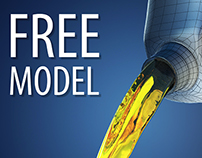 Free model of motor oil pouring from canister