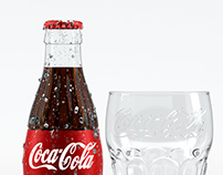 Cocacola bottle and glass
