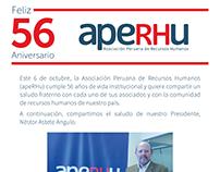 Anuncio | Diseño Saludo 56 años para aperhu
