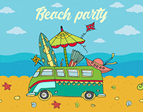 Beach Party Free Vector Illustration
