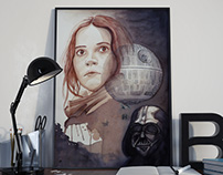 Poster con vino y tinta, Rogue One. Star Wars.