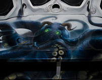 Paint airbrush kraken in sound the car