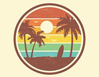 70s Surf Beach Landscape