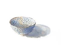 Watercolor Bowl Still Life