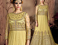 Devastating Yellow Ethnic Gown For Sangeet Party By DNU