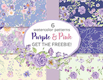 Floral watercolor patterns in purple and pink