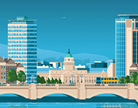 Dublin Ireland Retro Travel Poster Illustration