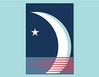 American Moon Poster