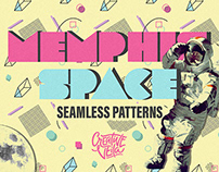 Free Memphis Space Seamless Patterns