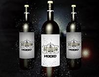 vertical 3 in 1 Wine Bottle Mockup