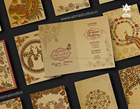 Kalamkari Indian Folk Art Wedding Invitation Design