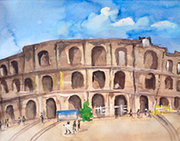 Roman Colosseum: Rome, Italy - Watercolour painting