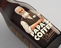 """Papa's coffee"" - iced coffee label design"