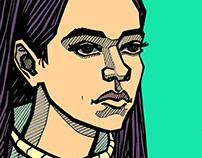 Portrets: paper, marker, digital