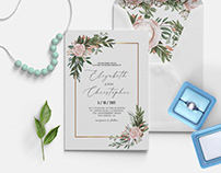 Free Blush Green Wedding Invitation Template