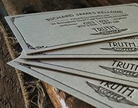 LetterPress Business Card Retro Design - TRUTH Coffee