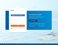 Login page, UI sign in page for yacht website