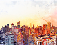 Sunshine in NYC - watercolor panorama painting