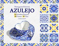 Portuguese Azulejos. Watercolor Tiles & Patterns