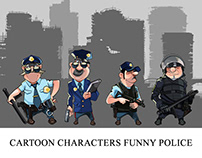 Cartoon characters funny police