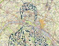 Human Cartography: Rimbaud / Paris / Paper Cut Map