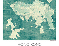Hong Kong, China. Blue vintage watercolor map poster