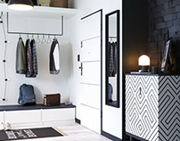 Black and white entrance door