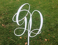 Laser Cut Monogram Wedding Cake Topper