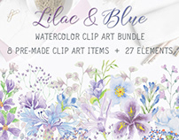 Watercolor clip art bundle in lilac and blue