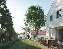 Family semi detached house exterior. VACÍK ARCHITECTS.